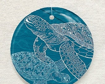 Sea Turtles One Color Glass Ornament & Suncatcher, Seashell Ornaments