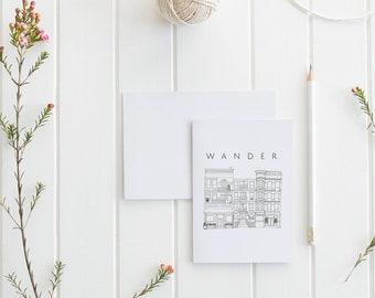 Wander Travel Journal   Architecture Illustration   Handmade   Notebook   Travel Journal   Wanderlust   Gift for Writers   Gift for Her