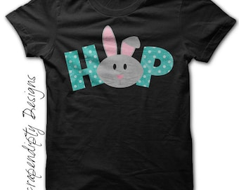 Kids Easter Shirt - Baby Boy Easter Outfit / Toddler Easter Bunny Shirt / Infant Blue Hop Clothes / Personalized Easter Tshirt / Baby Girl