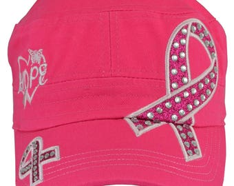 Breast Cancer Awareness Hope Hot Pink Distressed Hat - Free Shipping US