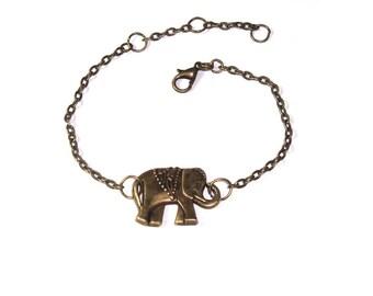 Elephant Charm  Bracelet , Antiqued Brass Chain Bracelet ,  Adjustable  Bronze Chain  Bracelet ,