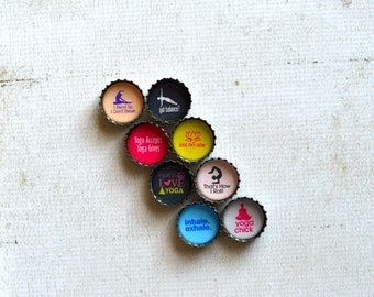 Yoga Gift- Yoga Upcycled Bottlecap Magnets- Yoga Meditation- Yoga Mom Gift- Healthy Living- Inhale Exhale- Just Breath- Yoga Kitchen Magnets