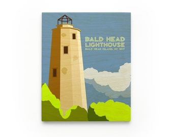 Gift Ideas, Bald Head Art Block, Bald Head Lighthouse Art, North Carolina Lighthouse Art
