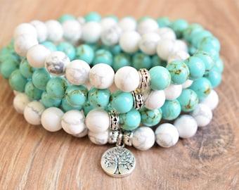 yoga mala meditation mala 108 mala bracelet tree of life mala healing mala zen mala spiritual mala 108 mala beads turquoise mala 108 howlite