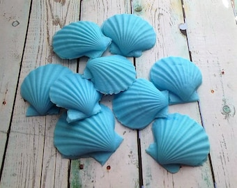 Shell Soap Set of 9, Scallop Shell Soap, Seashell Beach Soap, Nautical Soap, Novelty Soap, Guest Soap, You pick scent & color