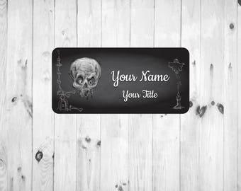 Chalkboard Skull Nametag