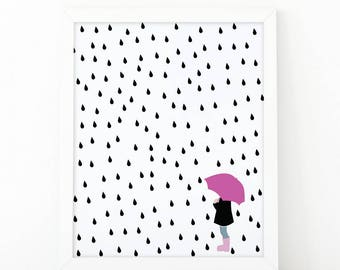 Girl with umbrella, Dance in the rain, girls room decor, nursery printable art, rain print, scandinavian print, raindrops, umbrella print
