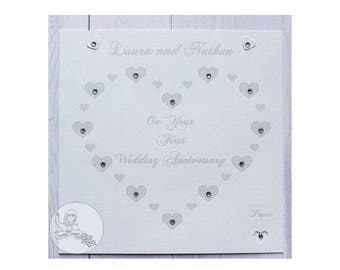 Handmade Personalised First Wedding Anniversary Card 1st Paper Gift Hearts Names