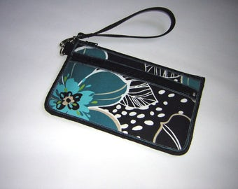 iphone 6 plus clutch, Phone Plus Case, makeup Wallet with removable strap  Cell Phone Purse fabrics in Black Turquoise & floral