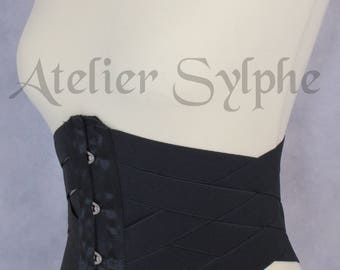 27 inches waist cincher underbust corset in black stretch elastic ribbons Totaly closed waist size is 68 cm