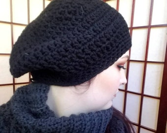 Black Super Slouchy Hat