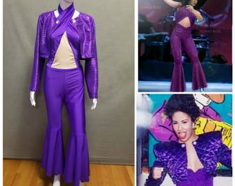 MADE TO ORDER Selena Quintanilla Inspired Purple Jumpsuit with Matching Satin Jacket Costume