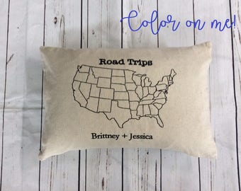 Personalized Color Me Pillow US Map Travel Pillow Military Color as you Visit States Pillow Family Travels