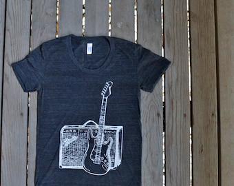 Fender Guitar and Amp T-Shirt American Apparel  Heather Black  Women's Tee