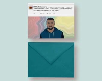 PDF Kanye West Printable Card Instant Download Card Blank Inside Kanye Birthday Card