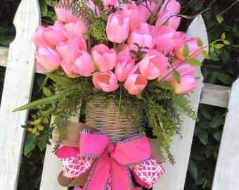 Tulip door basket, tulip basket, spring tulip wreath, tulip wreath, Mothers day wreath, spring door wreath, double door wreath