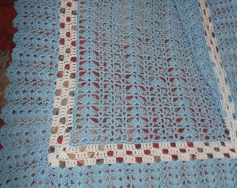 Crocheted Blue & White Baby Afghan (bk127)