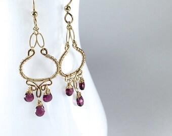 Garnet and Gold Chandelier Earrings || Rhodolite Garnet Dangles