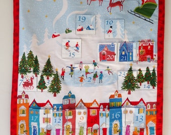 Skating Scene advent calendar, Modern Fabric advent calendar, Adult Christmas advent calendar, Reusable advent calendar