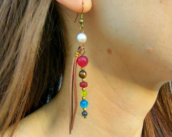Earrings for women, pearl earrings, long earrings, stone earrings, gem leather earrings, gift for women, boho earrings, dangle long earrings
