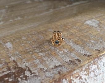 Gold Hamsa Hand Tragus Piercing - Evil Eye Earring - Tragus Barbell - Tragus Earring - Hamsa Piercing-Helix