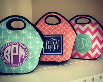Monogram Neoprene Lunch Tote - Choice of Pattern, Color, Frame & Personalization - Design Your Own Lunch Bag
