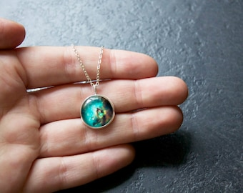 Rainbow Galaxy Necklace -  Nebula Pendant Green Orion Constillation Glass Dome Necklace