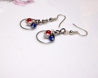 Red White and Blue Earrings, Patriotic Jewelry, 4th of July, USA Silver Dangle earrings, United States, Simple Drop Earings, Forth of July