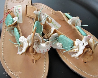 "Leather sandals decorated with Original turquoise stones - Sandals  (handmade to order) - ""Blue Lagoon"""