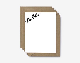 Hello Hand Lettered Screen Printed Note Cards - Set of 6