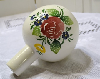 Vintage Bresolin Vase Italy White Pink Green Flowers Hand Painted PanchosPorch