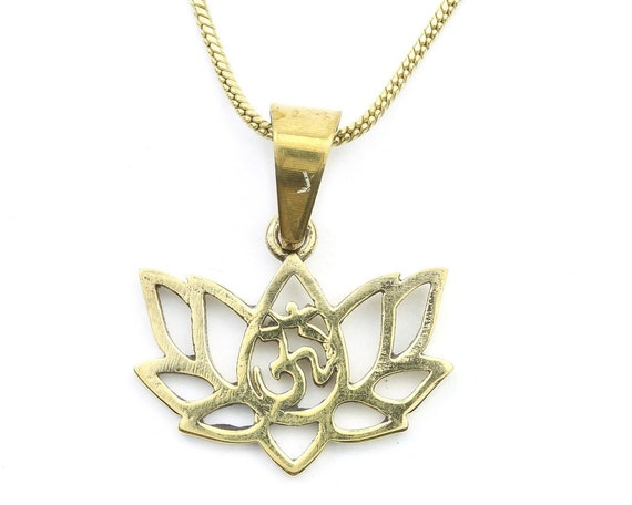 Lotus Om Necklace, Open Lotus Pendant, Yoga Jewelry, Flower, Meditation, Festival Jewelry, Boho, Bohemian, Gypsy, Hippie, Spiritual