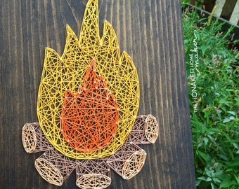 MADE TO ORDER String Art Campfire Sign
