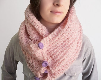 Knitting Cowl - Pink Knitting Neckwarmer - Pink Circle Scarf - Winter Accessory, ready to ship