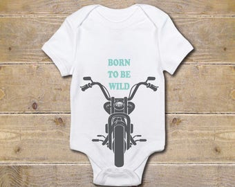 Motorcycle Baby Shirt Hipster Dirtbike Harley Baby Shower