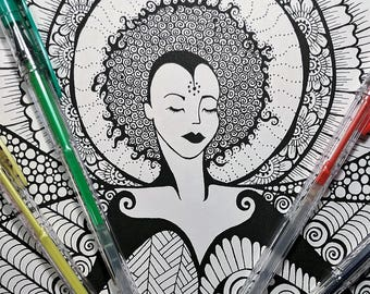 Printable Coloring Page -  Coloring Pages - The Goddess Zoe INSTANT DOWNLOAD