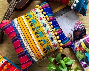 Mexican Throw Pillow Blue Pink STRIPE Throw Pillow - Aztec Ethnic Folk Home Deco