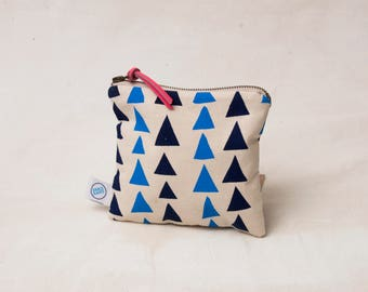 Small Triangle Zipper Bag - screen printed in light blue and navy