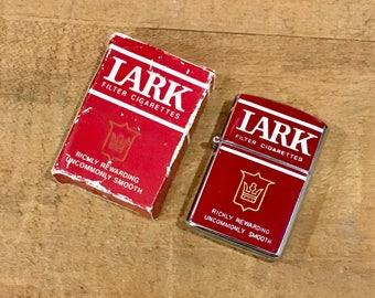Vintage LARK Advertising Cigarette Lighter with Original Box / Never Fired