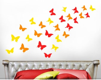Butterflies Wall Decals, Butterfly Decals, Butterfly Decor for Girls Room, Bedroom Decor, Realistic Butterfly Silhouettes in Warm Colors