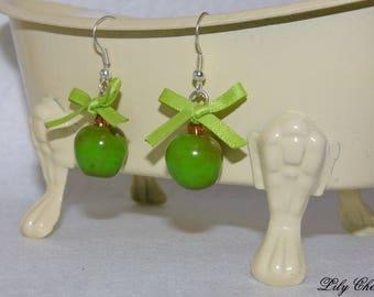 Earrings polymer clay Green apples