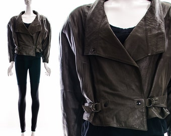 Vintage 70s 80s Chocolate Brown Leather Jacket Moto Jacket Motorcycle Jacket Avant Garde Asymmetric Leather Jacket Soft Supple Leather S M
