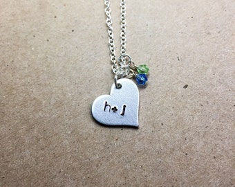 Heart necklace, valentines necklace, personalized jewelry, couples necklace, initial necklace, gift for her, couples jewelry