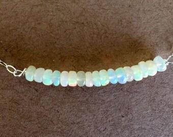 Opal Bar Necklace,  Welo Opal, Great Quality. Gemstone bar necklace