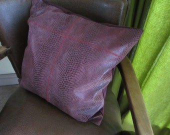 "Handmade one of a kind upcycled pink snakeskin effect leather cushion / pillow with clay pipe tag. 16"" / 40cm  (Ref Pink snake RedZZ)"