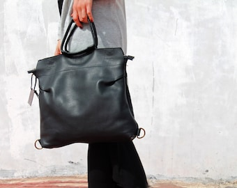 Black leather bag, leather backpack for women, laptop backpack, top handle handbag, handmade leather bag,leather bag for everyday use