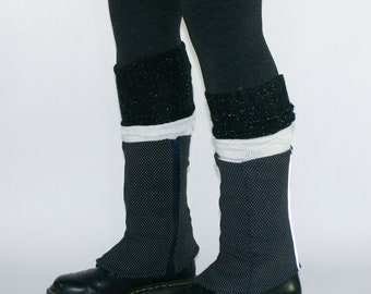 Eco design Leg warmers by DominiqueJuliette / black silver tincel / yoga / dance / boot socks / winter / gift idea / christmas / ballet
