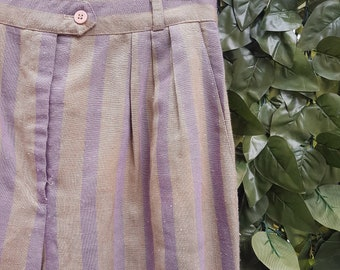 Vintage 80s Stripe High Waisted Trousers Size 10