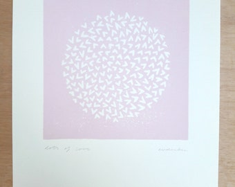 Lots of love (pink); linocut; original