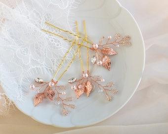 Bridal Hair pins, Rose Gold Hair Pins, Wedding Hair Pins, Crystal hair Pins, Blush Headpiece, Bridal hair Jewelry, Wedding Hair Piece